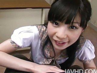 Teen Mizutama Remon at school giving her prin