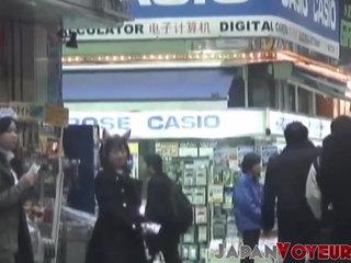 Asian schoolgirls seen working through voyeur lenses