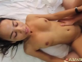 Petite Asian MILF gets dick bigger than she's used to and just can't stop cumming
