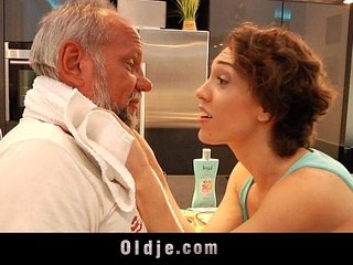 Lusty big titty teeny tease old man for fuck