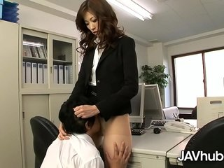 JAVHUB Rika makes her worker plumb her fur covered cunny