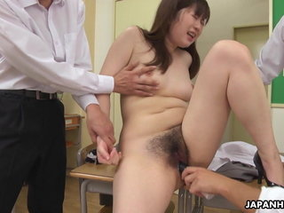 Japanese teacher, Hanaho had unrestrained group sex, uncensored