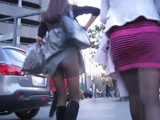 Asian gir on foot helter-skelter sulky pantyhose upskirt oopsy