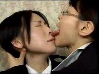 Asian Lesbian Wild Tongue Kiss