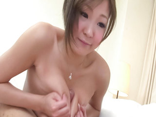 Teen model Hiyoko Morinaga has her big tits squeezed and then hammered by a throbbing dick.